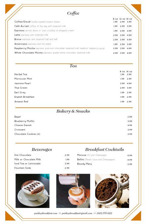 Breakfast Cafe Tabloid Menu