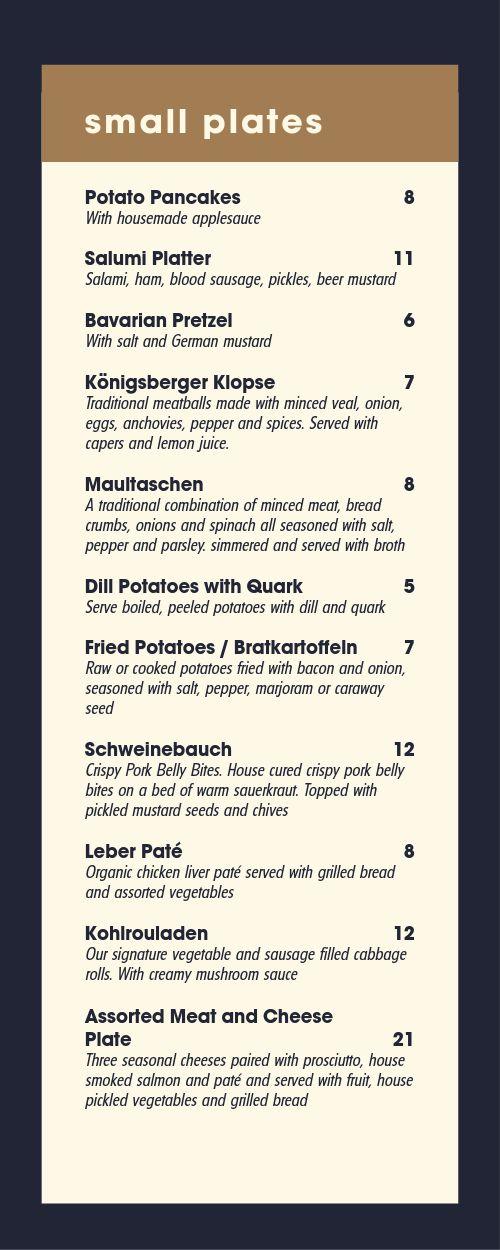 German Brewery Half Page Menu