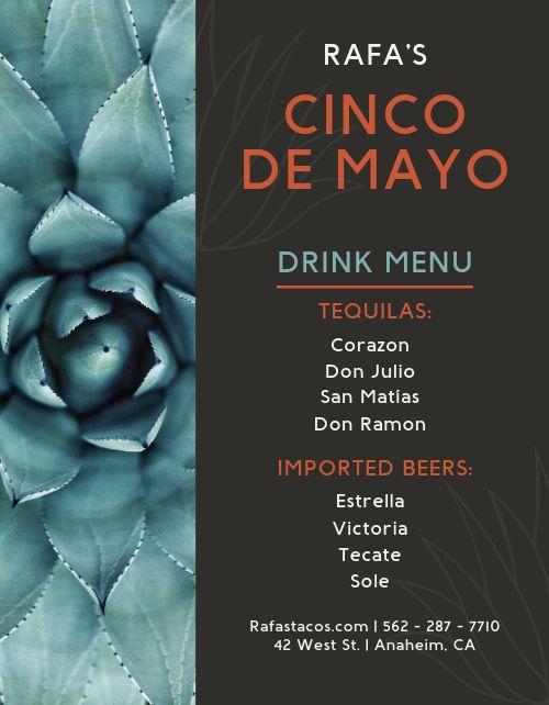Cinco de Mayo Drink Menu
