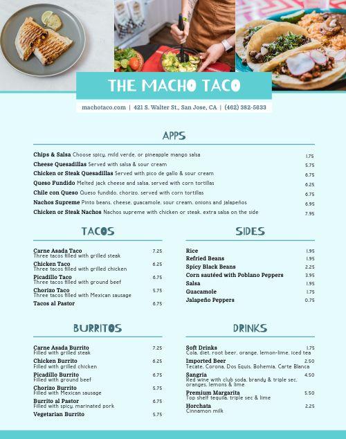 Taco Truck Menu Poster