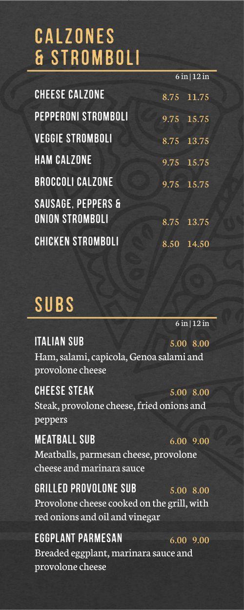 Neapolitan Pizza Half Page Menu