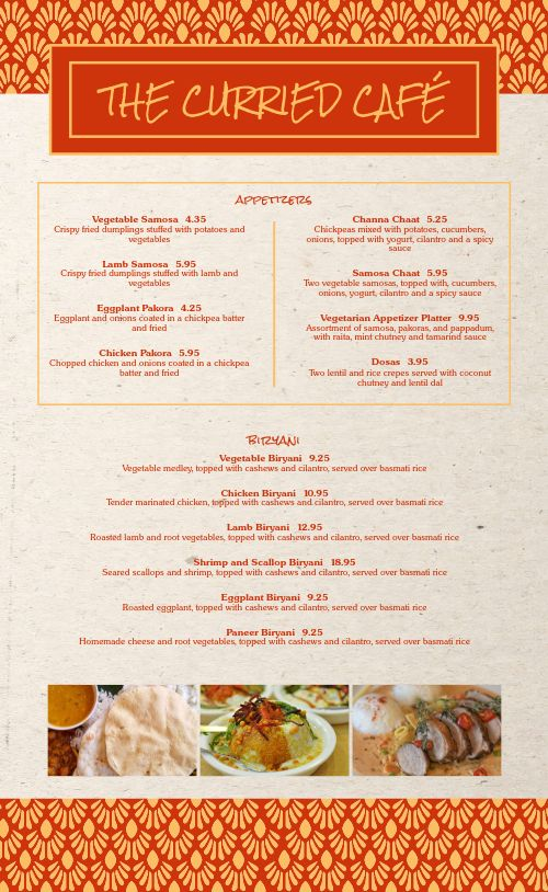 Indian Cuisine Cafe Menu