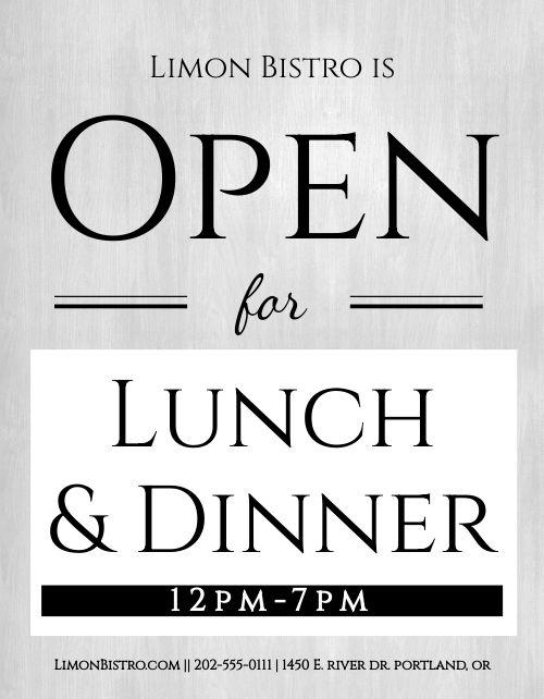 Open Lunch Dinner Flyer