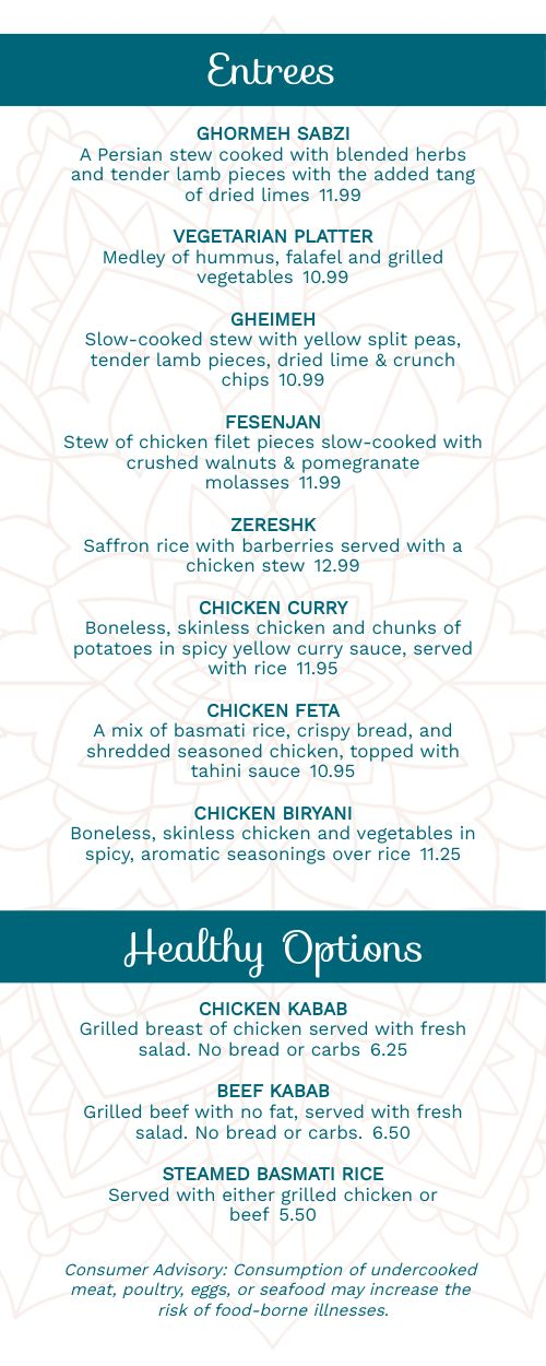 Limited Middle Eastern Takeout Menu