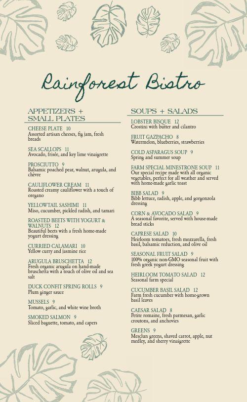 Bistro Fine Dining Menu