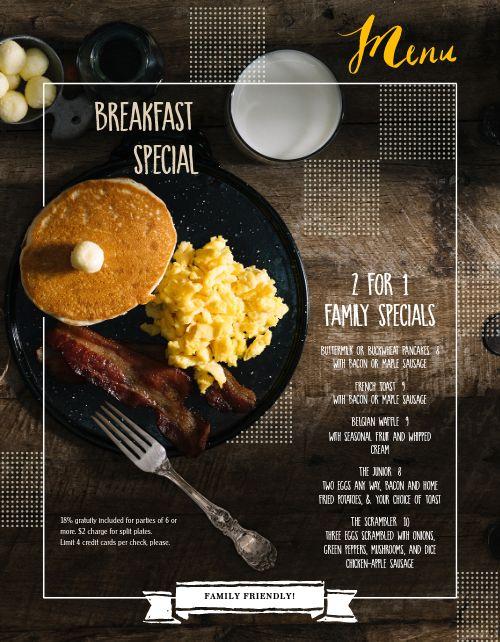Breakfast Pancake Special Menu