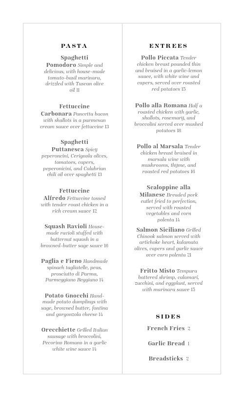 Gourmet Italian Menu