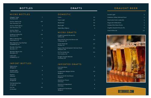 Beer House Folded Menu