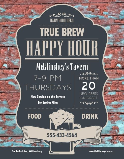 Tavern Happy Hour Flyer