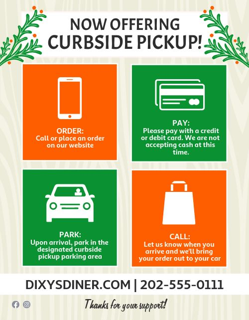 Curbside Pickup Announcement