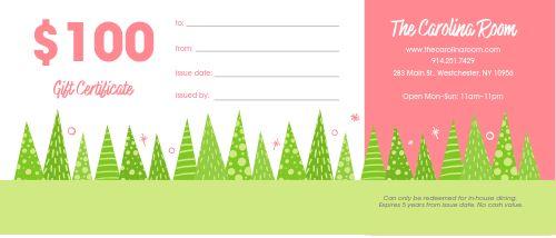 Christmas Tree Gift Certificate