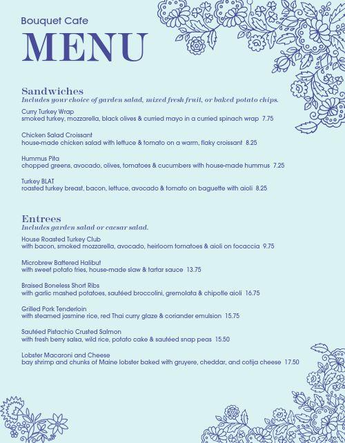Botanic Cafe Menu