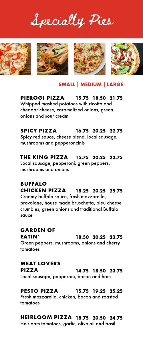 Specialty Pizzeria Half Page Menu