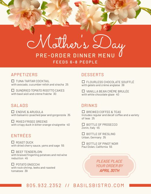 Mothers Day Preorder Form