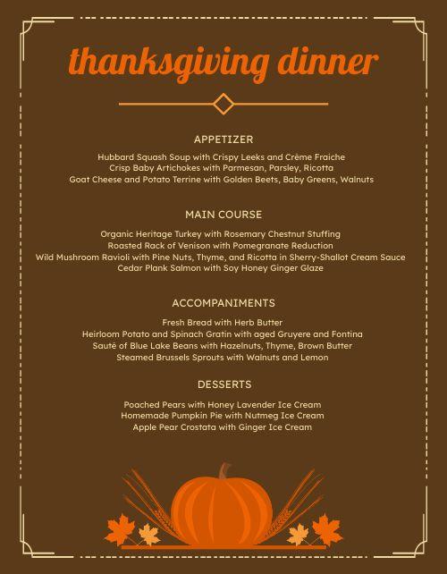 Thanksgiving Meal Menu