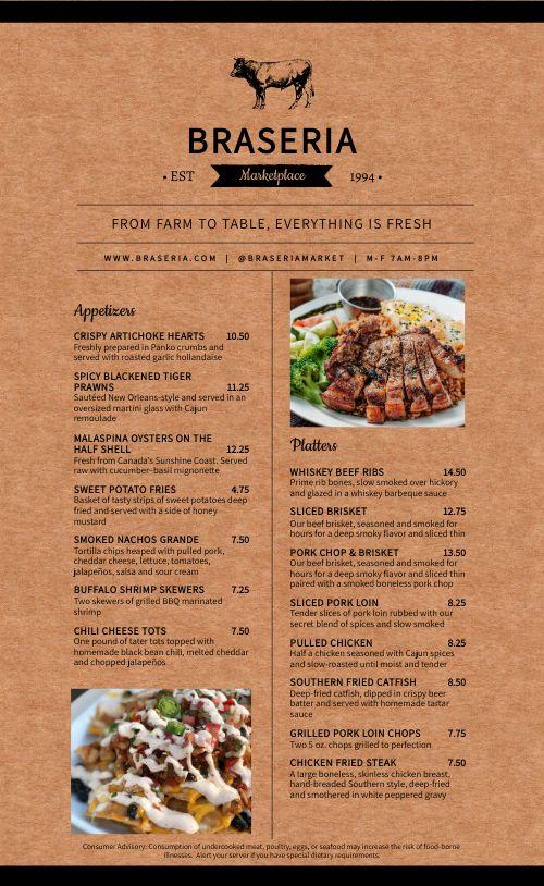Farm Steakhouse Menu