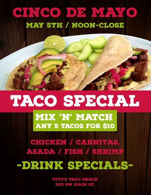 Cinco De Mayo Taco Specials Flyer