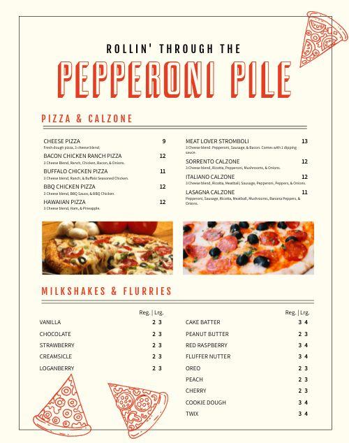 Pizza Cart Menu Poster