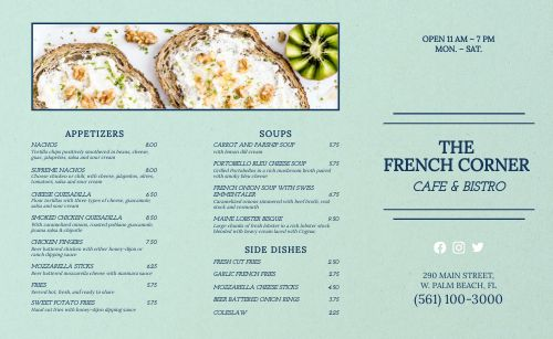 French Corner Cafe Takeout Menu