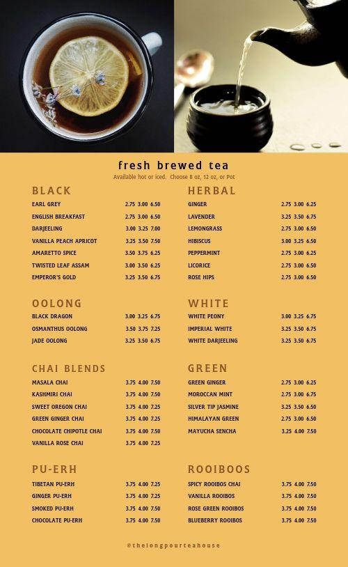 Teahouse Menu