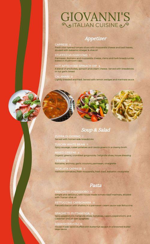 Example Italian Menu