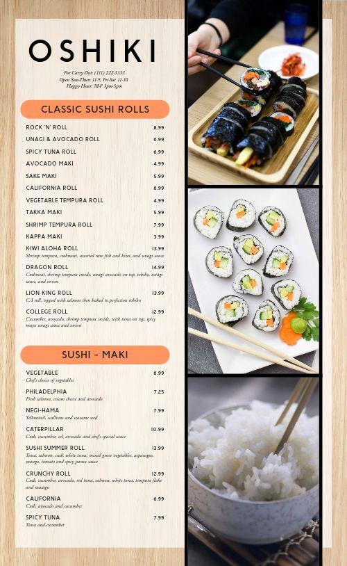 Sushi Rolls Japanese Menu