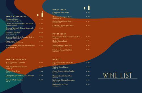 Colorful Wine List Folded Menu