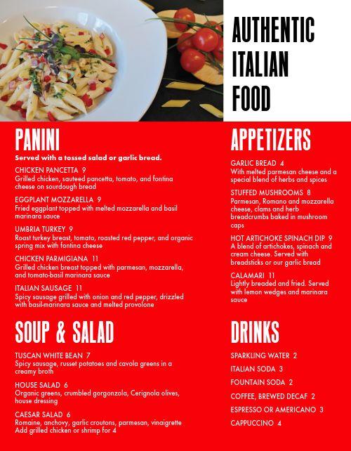 Homemade Italian Menu
