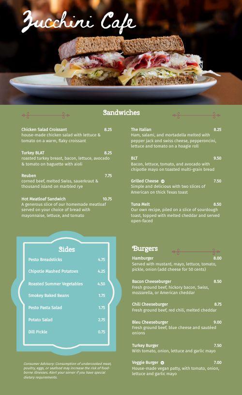 Cafe Sandwich Menu