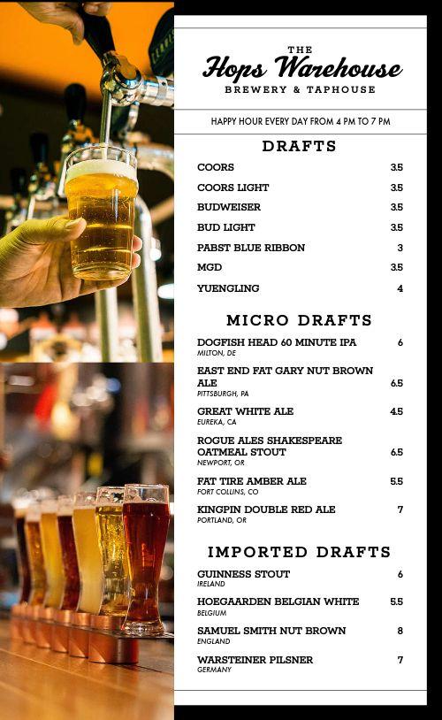 Brewery Beer Menu