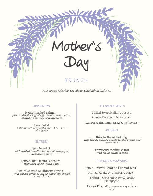 Mothers Day Lilac Menu