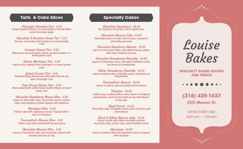 Specialty Bakery Takeout Menu