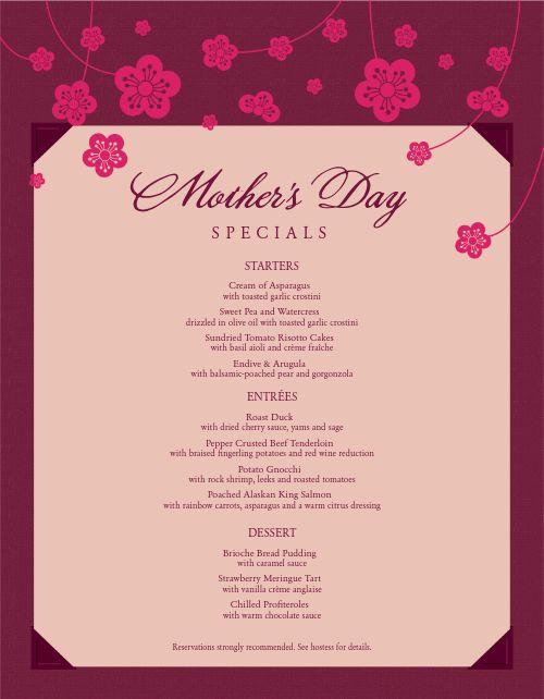American Mothers Day Menu