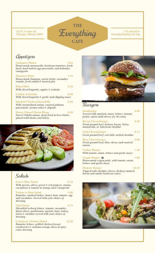 Burgers Cafe Menu
