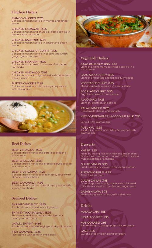 Gourmet Indian Menu