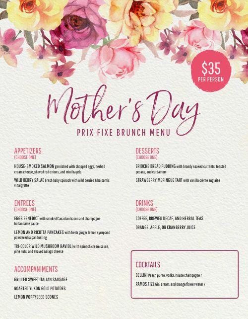 Mothers Day Menu Sample