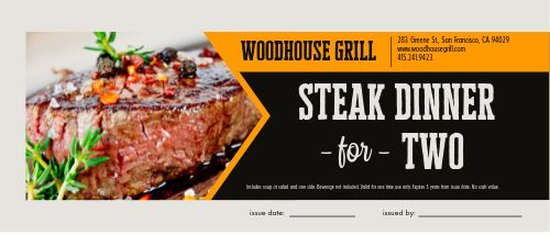 Steak Meal Gift Certificate