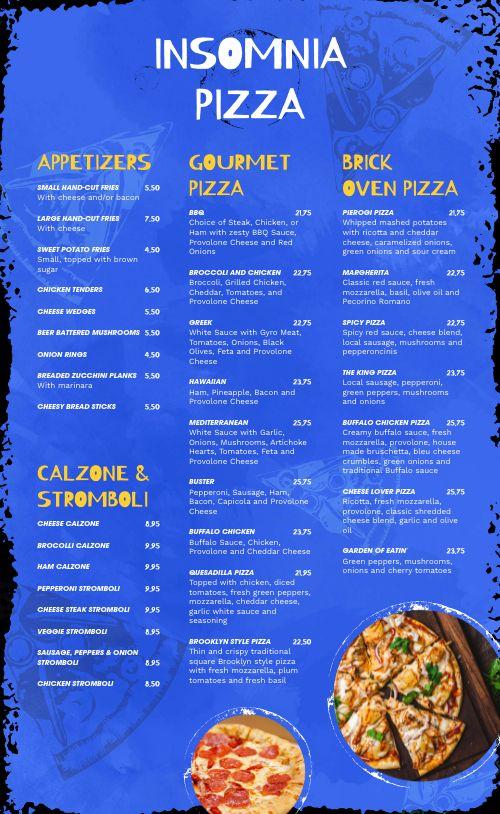 Blue Pizza Menu