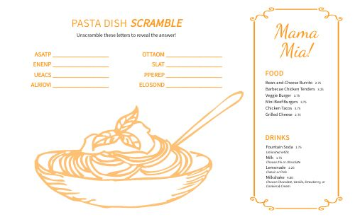 Spaghetti Kids Menu
