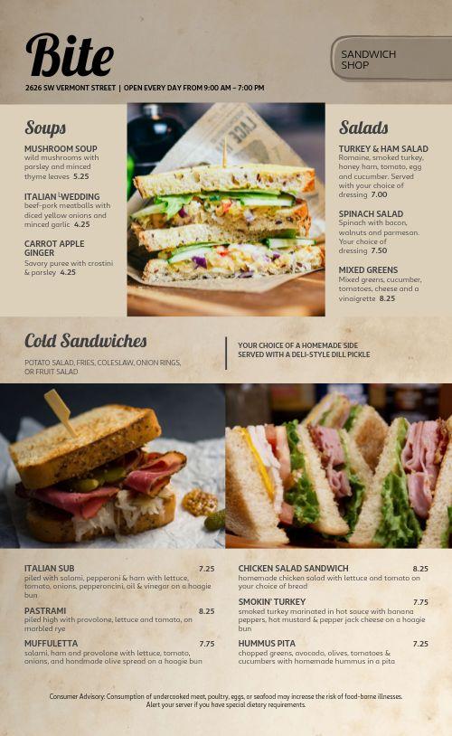 Sandwich Shop Deli Menu