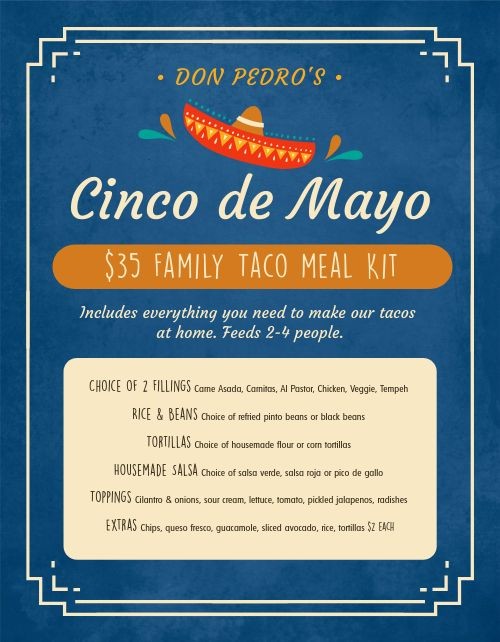Cinco De Mayo Meal Kit Menu