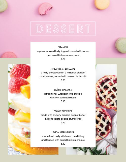 Colorful Dessert Specials Menu