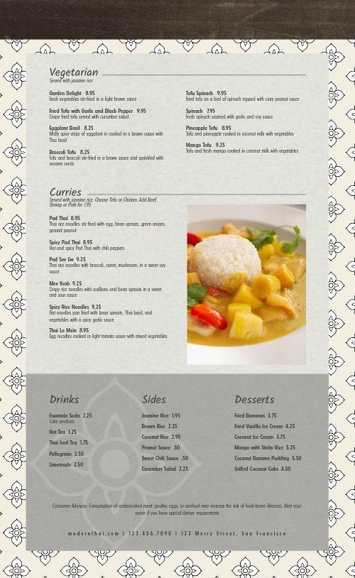 Sample Thai Menu