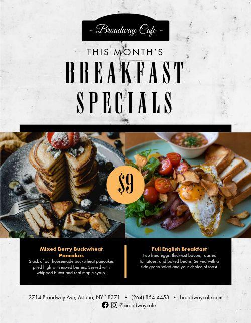 Monthly Breakfast Specials Flyer