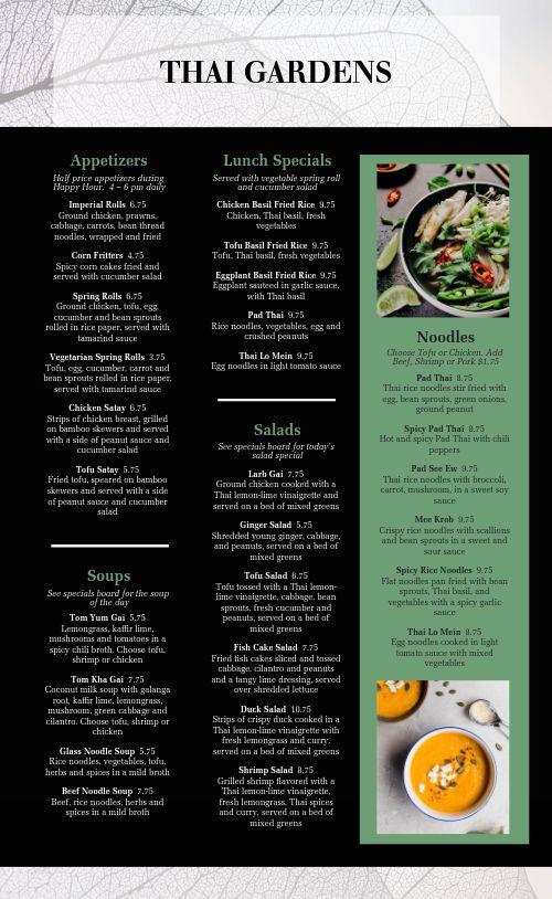 Thai Emerald Menu