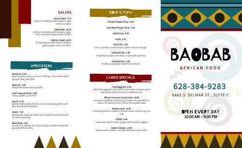 Casual African Takeout Menu