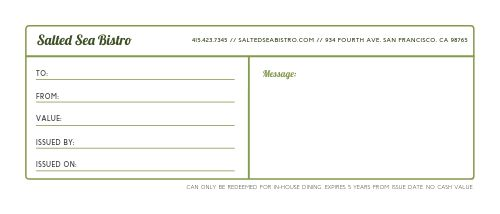 Cafe Holiday Gift Certificate