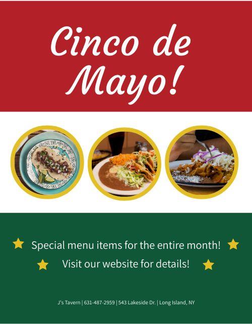 Cinco De Mayo Specialties Flyer