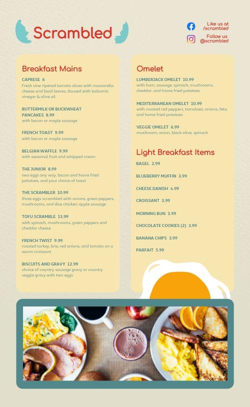 Eggs Diner Menu
