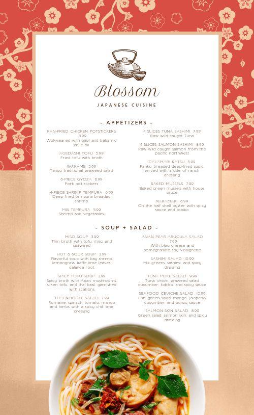 Blossom Japanese Menu